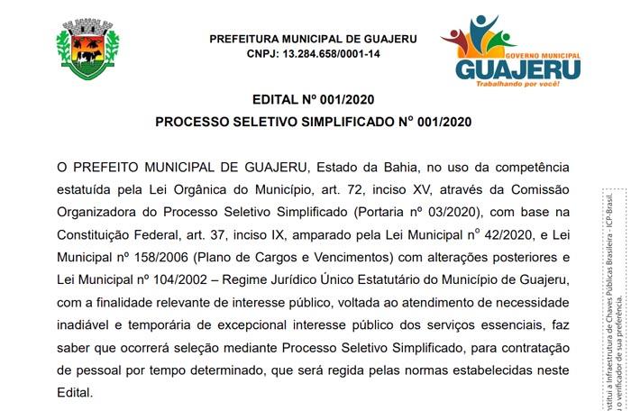Guajeru: Prefeitura abre inscrições para o Processo Seletivo Simplificado nº 001/2020