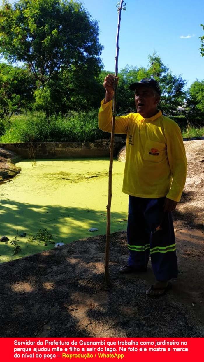 Mãe pula em poço para salvar criança de afogamento no Parque da Cidade em Guanambi