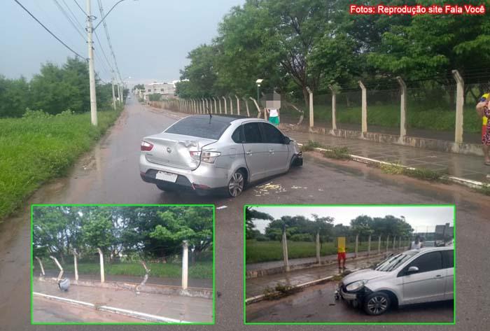 Homem perde controle da direção e carro colide contra grades de proteção do Parque da Cidade