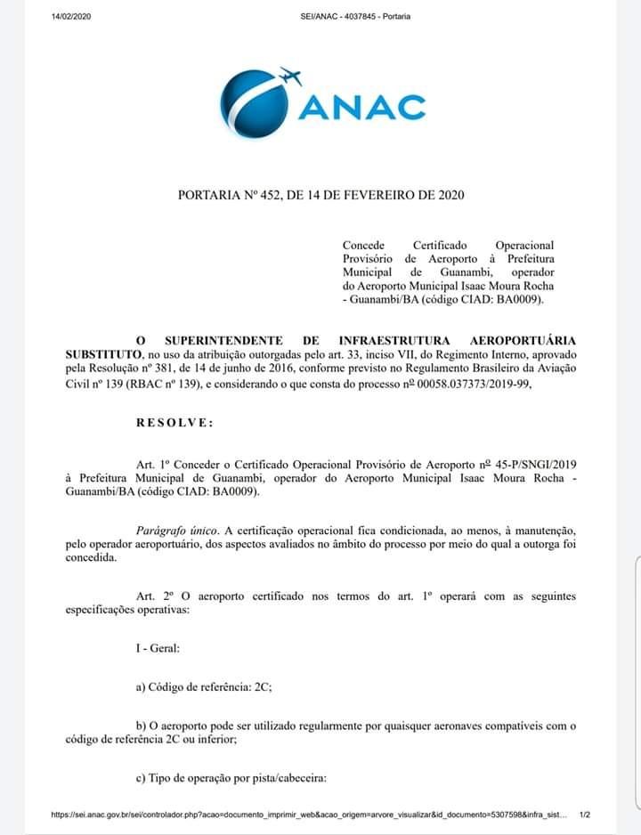 Aeroporto de Guanambi recebe certificação da Anac