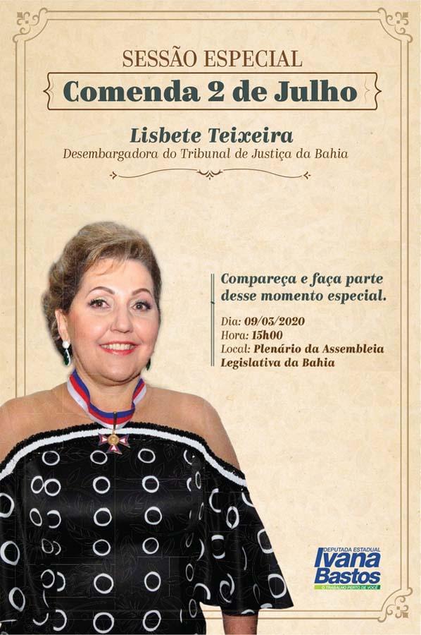 Ivana vai conceder Comenda 2 de Julho à desembargadora Lisbete Teixeira