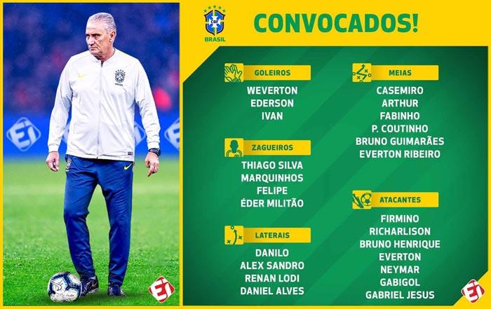 Tite convoca seleção brasileira para jogos contra Bolívia e Peru