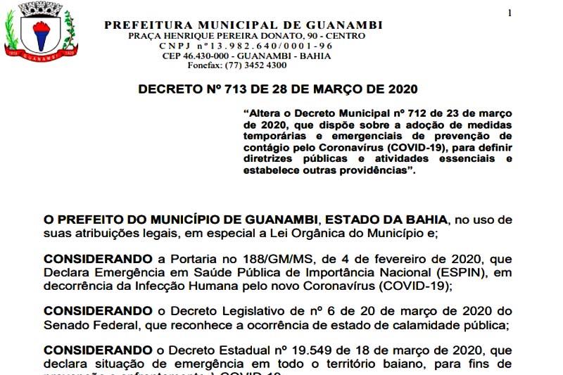 Prefeitura de Guanambi flexibiliza decreto e comércios poderão funcionar em sistema delivery