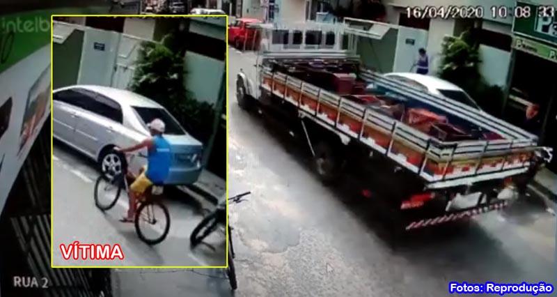 Homem morre após ser atropelado por caminhão no centro de Guanambi
