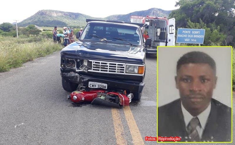 Grave acidente é registrado entre moto e caminhonete na BA-573 que liga Guanambi a Matina