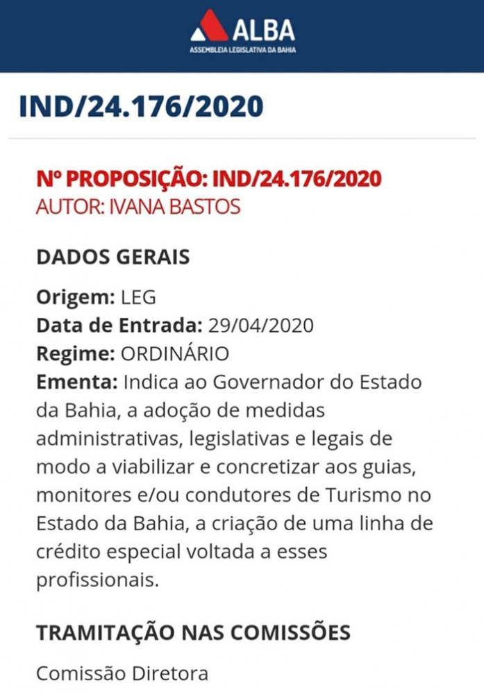 Linha de crédito para guias e condutores turísticos é proposta por Ivana Bastos