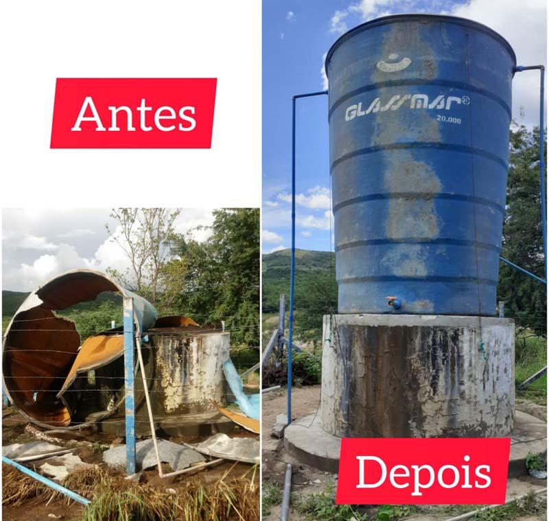 Ivana Bastos e prefeito levam reservatório de água para comunidade em Novo Horizonte
