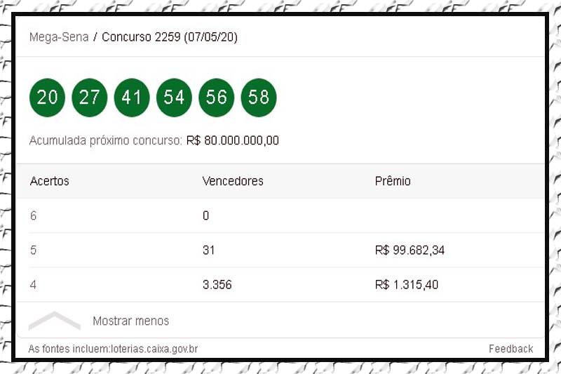 Mega-Sena acumula e prêmio chega a R$ 80 milhões