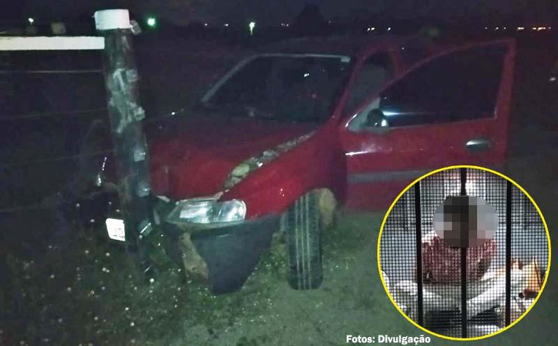Policia Militar prende indivíduo após roubar veículo e provocar acidente automobilístico em Candiba