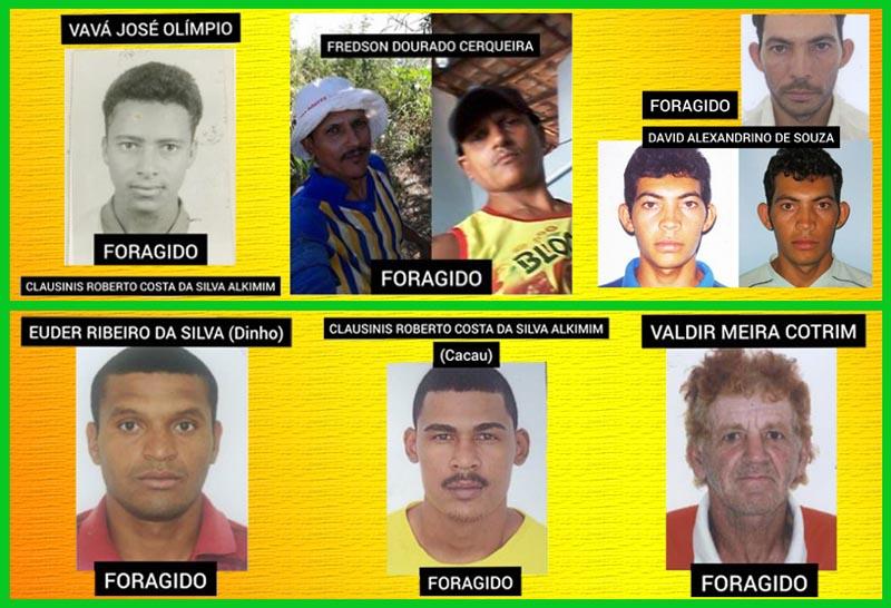 Fotos de seis foragidos da Justiça em Carinhanha são divulgadas pela Polícia Civil