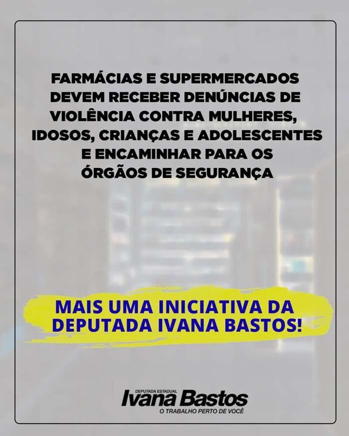 Farmácias e supermercados podem ser canais de denúncia de violências, prevê Ivana Bastos
