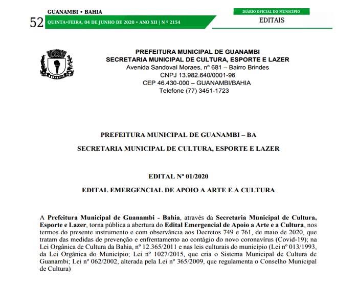Prefeitura de Guanambi publica Edital para apoio à cultura local