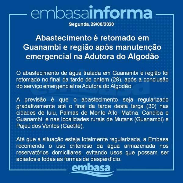 Abastecimento é retomado em Guanambi e região após manutenção emergencial na Adutora do Algodão