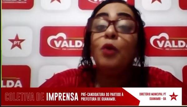 Em coletiva na internet, Valda ACS ratifica pré-candidatura à prefeitura e anuncia saída do PT da base do governo Jairo Magalhães