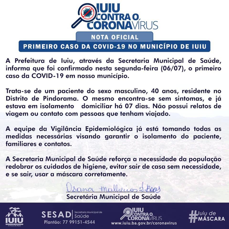 Iuiú confirma o primeiro caso de coronavírus