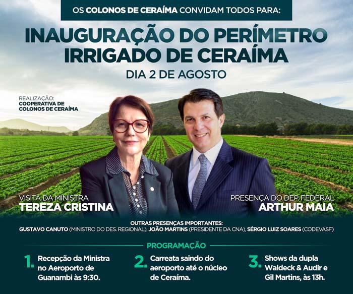 Codevasf inaugura nesta sexta-feira (2) obras de reestruturação e modernização do projeto de irrigação Ceraíma, em Guanambi (BA)