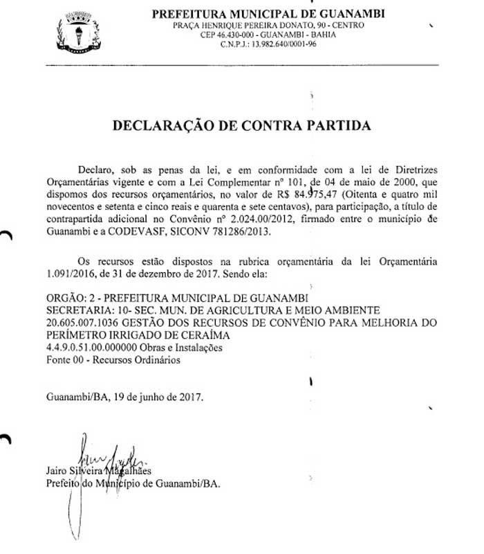 Prefeito Jairo Magalhães destaca parceria da Prefeitura de Guanambi no Projeto de Irrigação do Perímetro Irrigado de Ceraíma