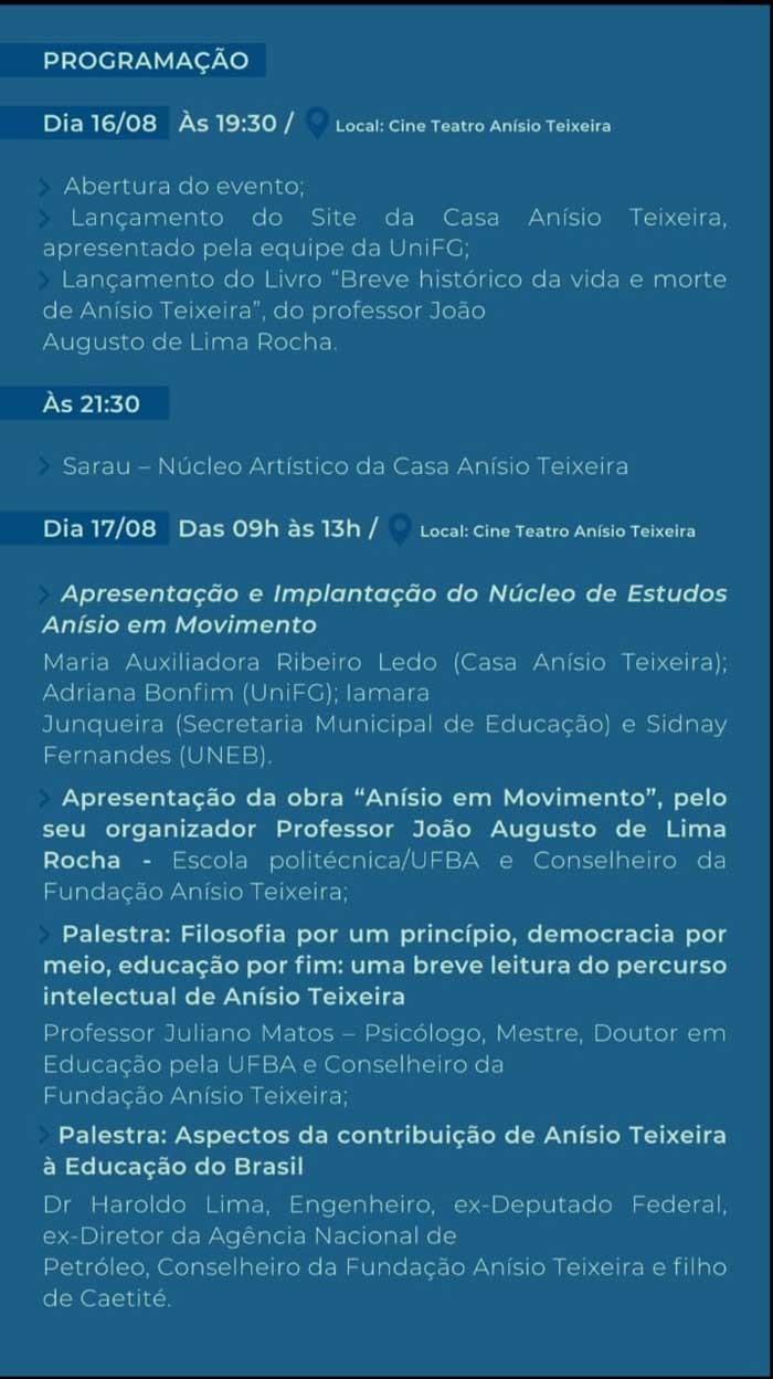 Caetité sediará o I Seminário Anual sobre Anísio Teixeira