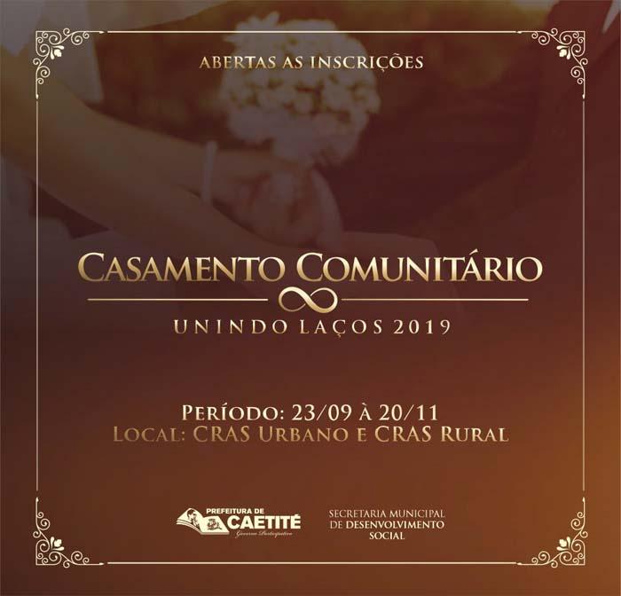 """Abertas as inscrições para o Casamento Comunitário """"Unindo Laços"""" em Caetité"""