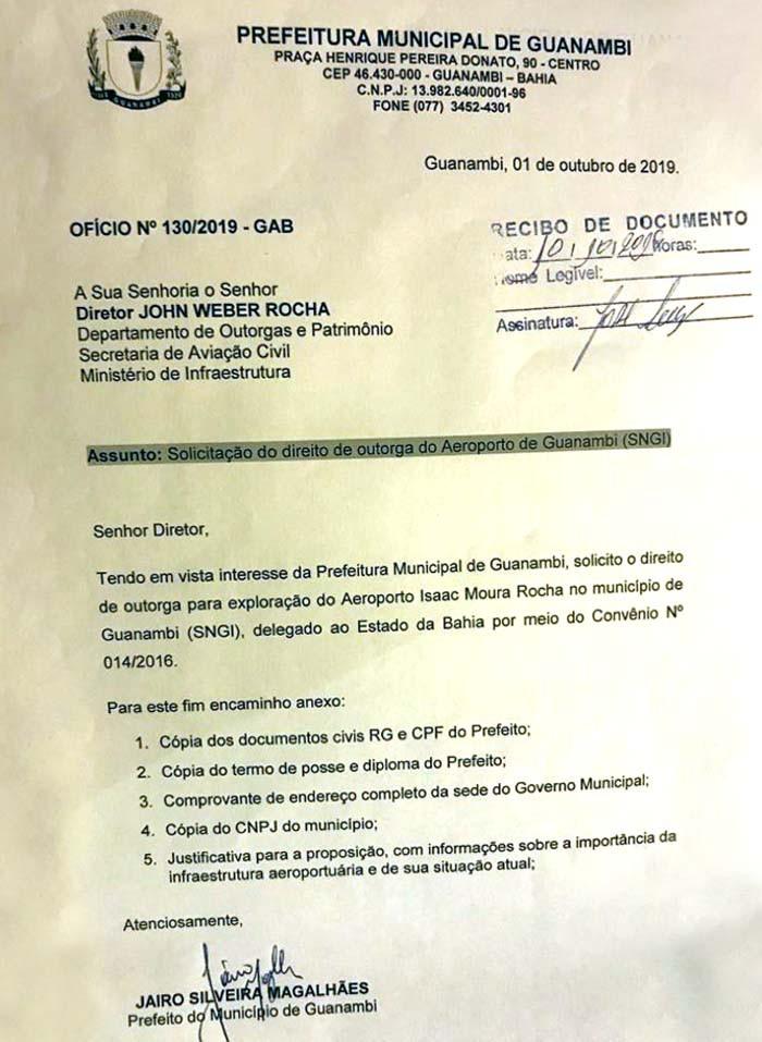Prefeito Jairo Magalhães entrega em Brasília solicitação de outorga do aeroporto