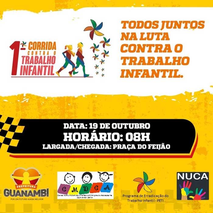 Prefeitura de Guanambi realizará a I Corrida contra o Trabalho Infantil